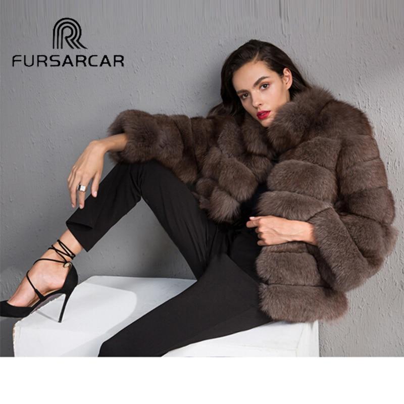 Мех животных Sarcar Роскошные Для женщин зима Природный Фокс Мех животных вся кожа натуральная женщина куртка Новый толстом натуральном корот...