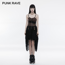 PUNK RAVE Women Steampunk Dress Adjust Length Lace Fashion  Cosplay Party Punk Strap Personality