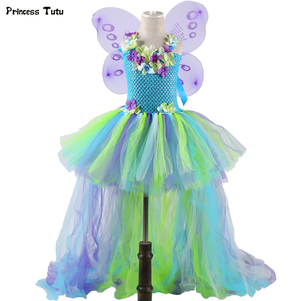 Water Fairy Girls Tutu Dress Long Tail Princess Flower Girl Birthday Party Dress Kids Halloween Cosplay Fairy Costume With Wings princess moana tutu dress for girls birthday party dress up children lace tulle flower girl dress kids halloween cosplay costume