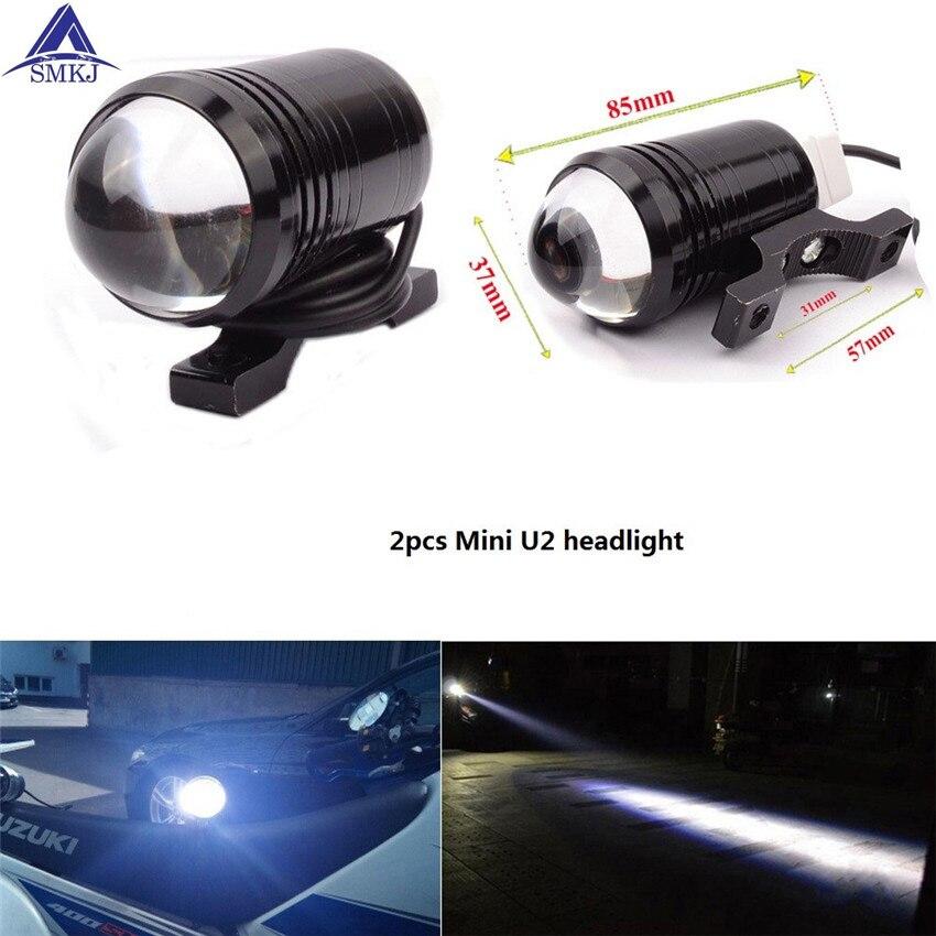 2 PCS Motorcycle Headlight U2 1200LM 30W High Low Flash LED Driving Fog Spot Head Bulb Light Lamp Headlight Motorcycle Switch