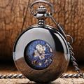Ретро Черный Механические Карманные Часы Мужчины Автоматические Часы с Цепочкой Подарок для отца День P858C