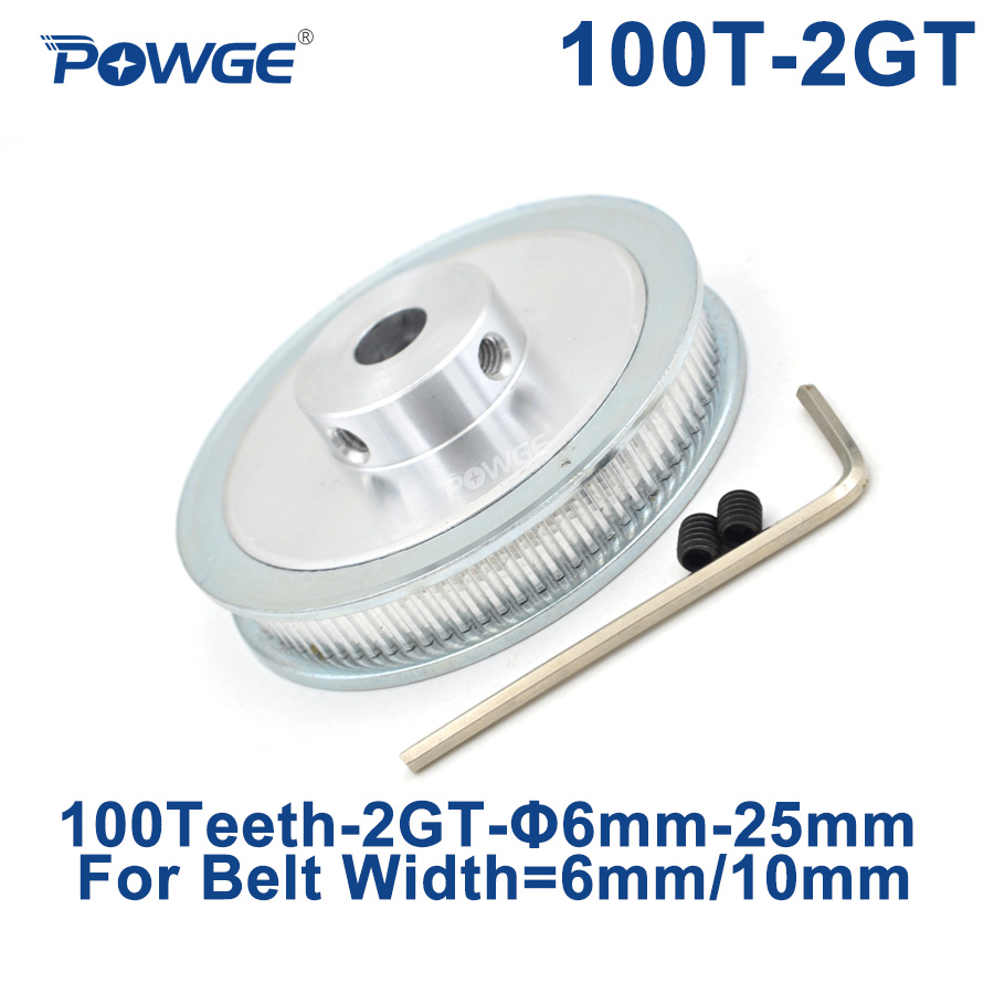 POWGE 100 Teeth 2GT Timing Pulley Bore 6/6.35/8/10/12/14/15/16/19/20/22/25mm for GT2 Synchronous belt width 6/10mm 100Teeth 100T|Pulleys| |  - title=