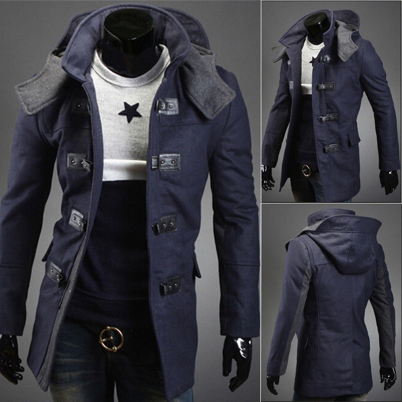 Men's Long Sleeve wool blend long men Coat Winter Trench Coat Overcoat Warm loose Long hooded Jacket Hooded Parka Outwear AD118R