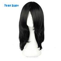 אורך בינוני סגנון שלך שחור טבעי שיער נשים קוספליי פאות נקבה פאות שיער טבעי סינטטי סיבי טמפרטורה גבוהה