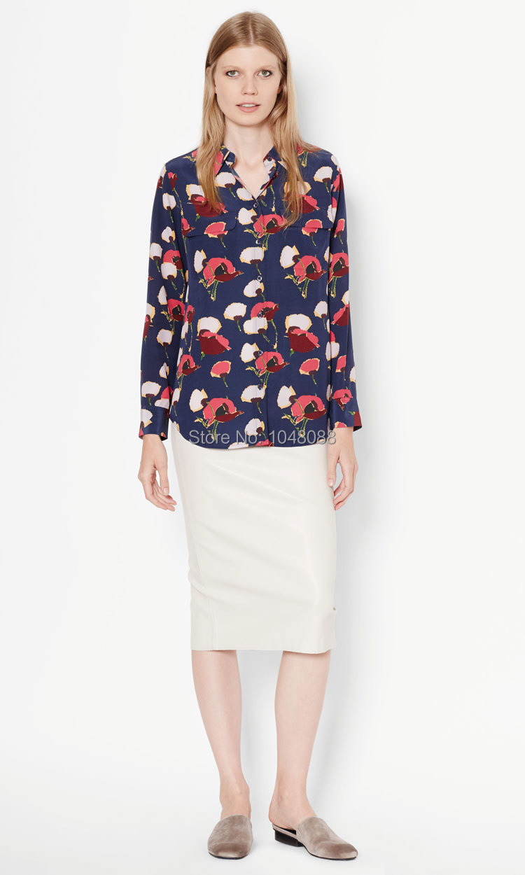 6b106bd0a68 2019 EQ 100% Silk Poppy Flower Print Ladies Long Sleeve Blouses ...