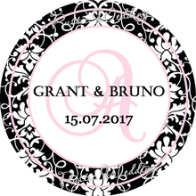 Custom Monogram Round Sticker, Wedding Pink Favors Customs Round Sticker,Labels , Personalized Candy Box Stickers