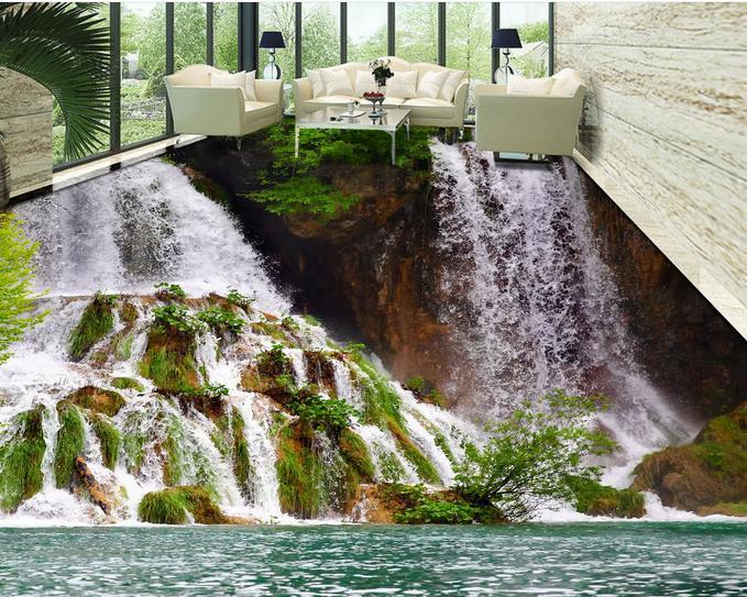 ФОТО customized 3d pvc flooring waterproof bedroom Water falls landscape wallpaper 3d floor murals self-adhesive wallpaper