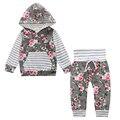 2017 do bebê Quente de Outono novo bebê menino roupas Crianças Meninas Do Bebê Manga Longa Com Capuz Tops calças Florais 2 pcs. conjunto de roupas SY188