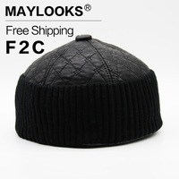 Maylooks 2017 חדש המשובץ pu עור חם טייס כובע cap הרוסית כובעי ליי פנג-בימס כובעי מפציץ כובעי חורף לגברים CS60