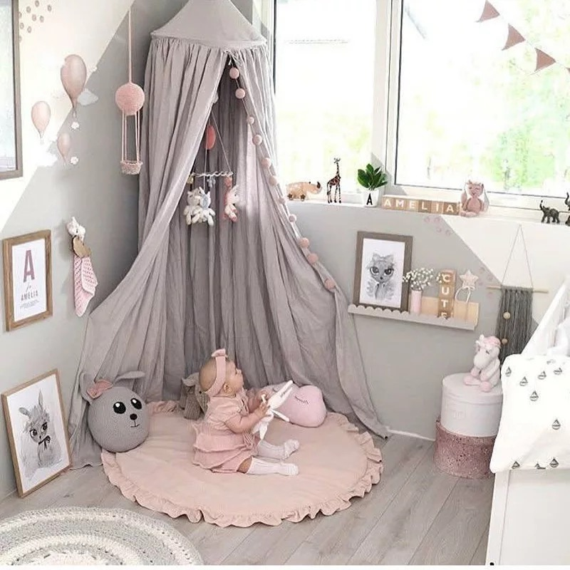 INS Nordic Children's Room Decoration Baby Game Blanket Lace Solid Crawling Mats Mosquito Net Carpet And Tent Tepee Cushions