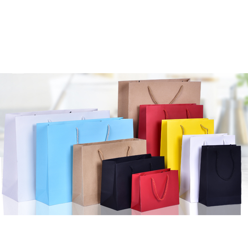 10pcs Gift Paper Bag Red Yellow Custom Gift Clothing Shopping Bag Kraft Paper Spot Printing Logo Solid Color Black White Pink