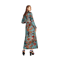Daddy Chen Fashion Women Floral Print Blouse Shirts Long Kimono Robe Sleeve With Sashes Sexy Cardigan