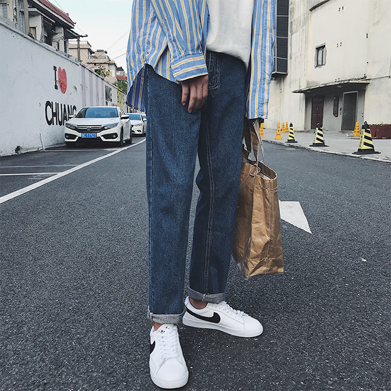 2019 male Korean version of autumn solid color men's casual pants new jeans loose trousers dark blue / light blue S-XL