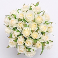 Free Shipping 26 Heads Bunch Ivory Light Pink Artificial Silk Flower Roses Posy DIY Wedding Bridal