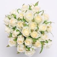 Gratis Verzending, 26 Hoofden/Bos Ivory & licht roze Kunstzijde Flower Roses Posy DIY Bruiloft Bruidsboeket bloemen 25 cm (HT40)