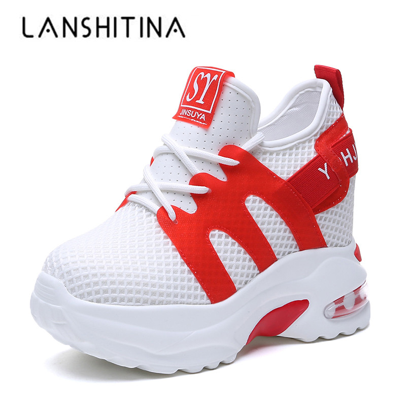 2019 Summer Women Sneakers Mesh Casual Platform White Shoes 10 CM Heels Wedges Breathable Fashion Woman Height Increasing Shoes