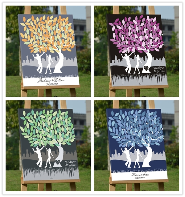 Personalized Wedding Guest Book Framecanvas Fingerprint Tree