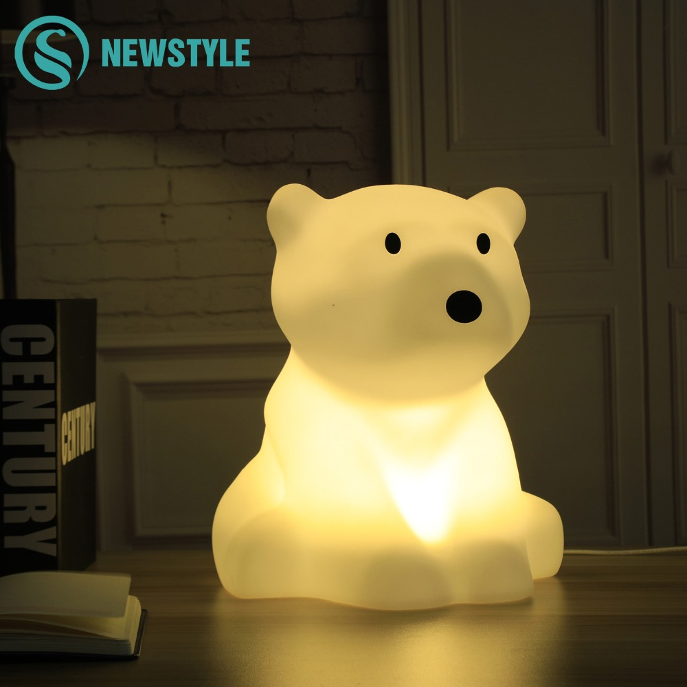 Polar Bear LED Night Light Baby Swivel Dimmable Warm White Led Desk Lamp AC200-240V EU US Plug Led Night Light for Kid цена