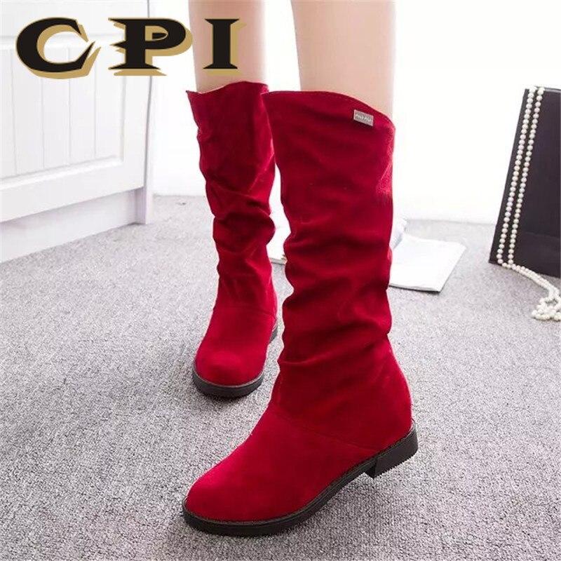 Noir Troupeau Automne marron rouge Faible Femmes Bottes Hauteur mollet Hiver Dames Ipc Mi Haute Chaussures Femme Ac Mat Accrue Talon 86 T1lJcFK3