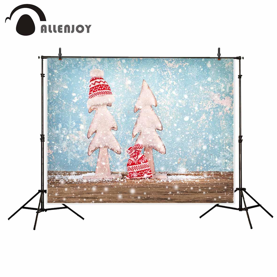 Allenjoy photography Christmas background snowflakes hat wooden floor cute children background backdrop kids