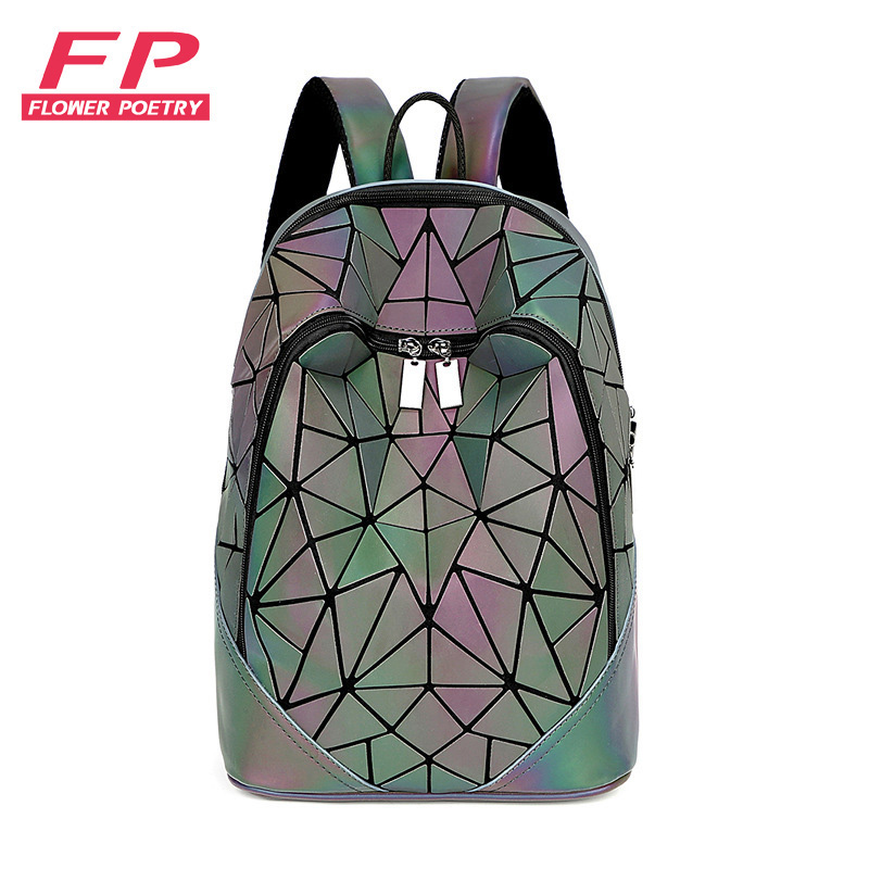 Fashion Women Backpack Mochila Geometric Luminous Backpacks Bagpack Girls Noctilucent Travel Shoulder Bags For School Back Pack