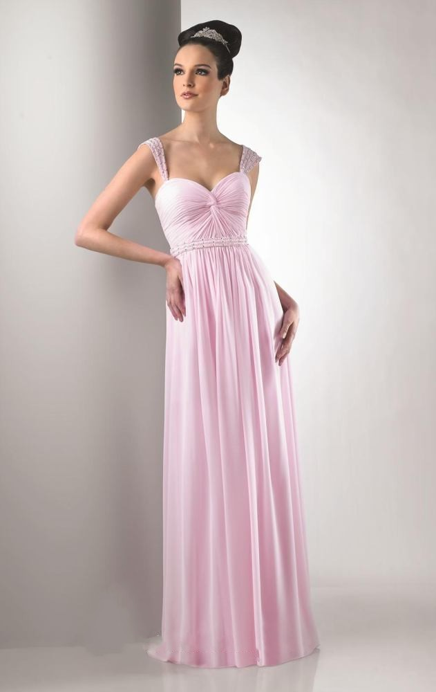 Free shipping new design high quality sweetheart beaded long   evening     dress   2015 pink chiffon sash draped floor length gowns