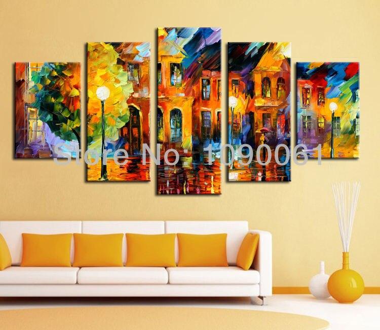 Night Street Scene Handmade 5 Piece Canvas Art Sets Wall Paintings ...