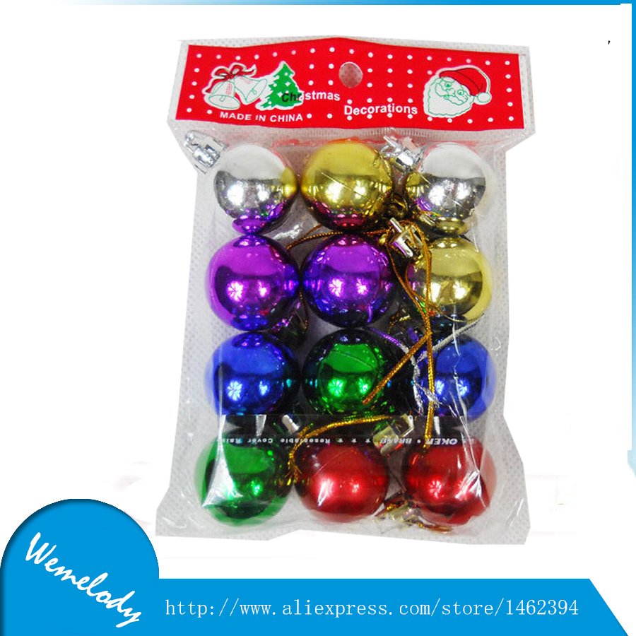 12pcs Colors Mini Plastic Balls 3cm Artificial Christmas