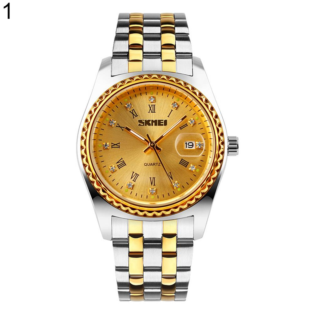 Roman Numerals Rhinestone Date Quartz Unisex Stainless Steel Band Wrist Watch Alloy  Stainless Steel  Round Daily Life Dating