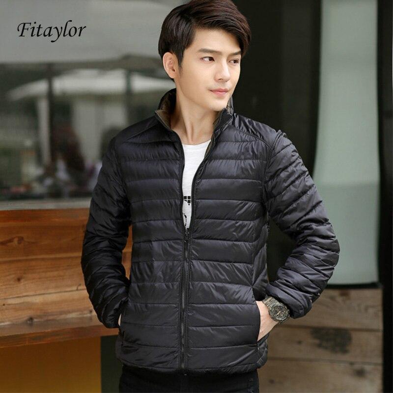 New Ultra Light Duck Down Jacket Men Feather Man Winter Double Side Reversible Parka Coats Plus Size 3XL Thin Warm Overcoat