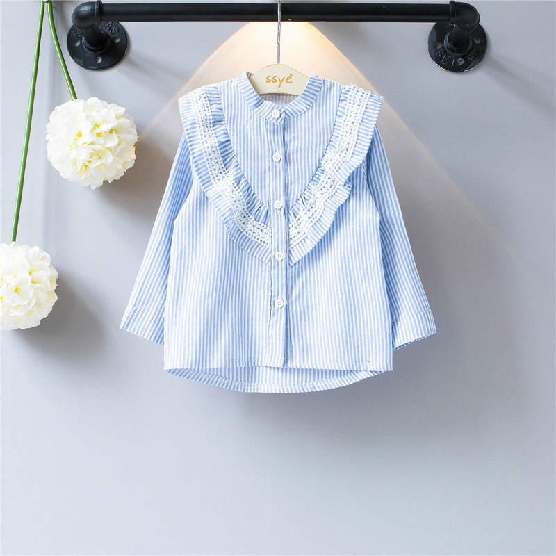 Girls lace Blouse Cotton stripe Blouse For School Girls Shirts Tops Kids Clothes School Uniforms 2-8 toddler girls clothing blouse