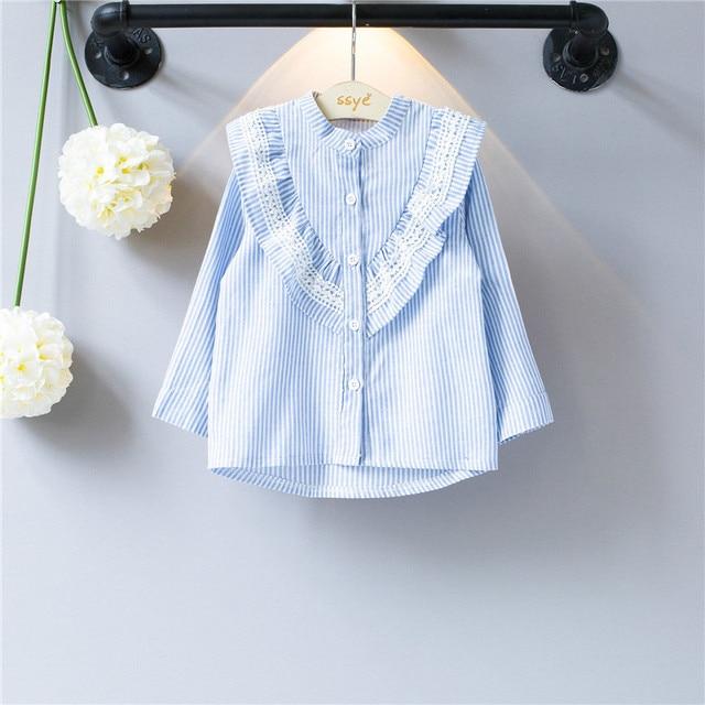 ecf49c11f € 8.1 10% de DESCUENTO|Blusa de encaje para niñas Blusa de algodón a rayas  para niñas escolares camisetas Tops ropa para niños uniformes ...