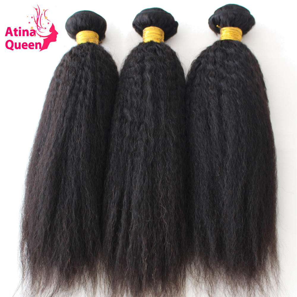 Atina Queen Hair Kinky Straight Hair 3 Bundles 100 Human Hair Weave Afro Italian Coarse Remy
