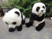Пара Симпатичные Моделирование панда игрушки полиэтилен и меха черный и белый Panda модели кукла 2461