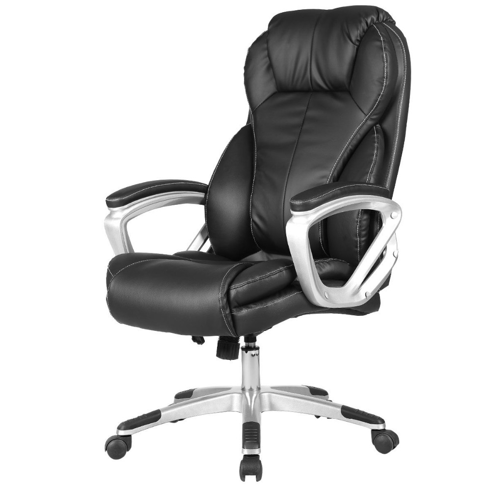 Goplus PU Leather Executive Office Chair High Back Ergonomic Computer Desk Task Black Swivel Modern Gaming Chairs HW52086 new pu leather high back desk office chair executive ergonomic computer task hw50277