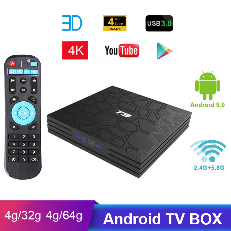 T9 caixa de tv android 9.0 duplo wifi quad core rk3328 4g/32 4g/64g google lettore hd t9 conjunto inteligente caixa superior tv 4 k android 8.1 bluetooth