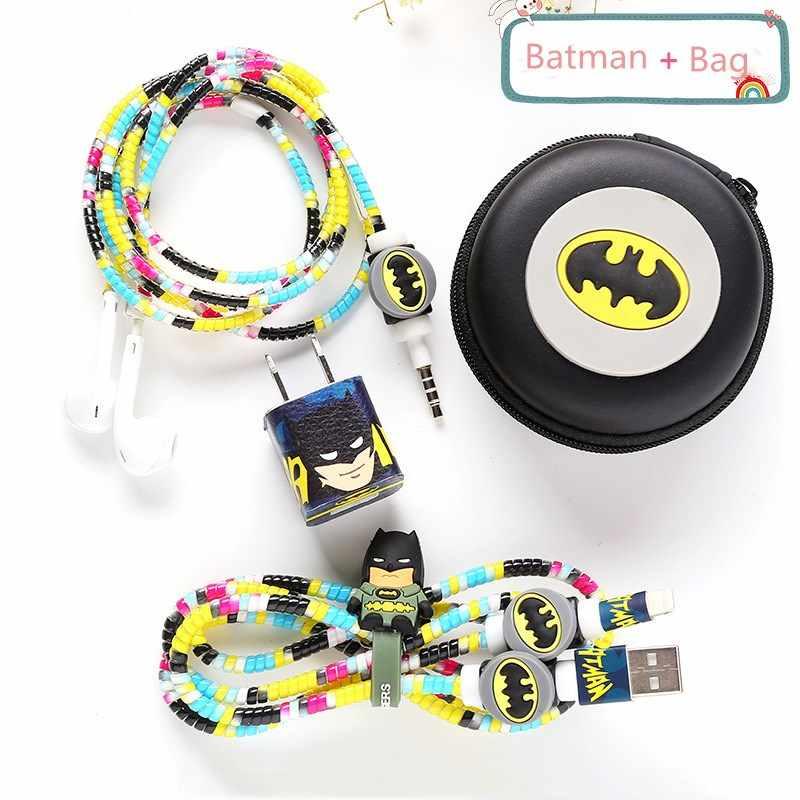 Хороший подарок милый мультяшный usb-кабель протектор для Наушников набор кабеля Стикеры для намотки спиральный usb-шнур с зарядным устройством для iPhone huawei samsung