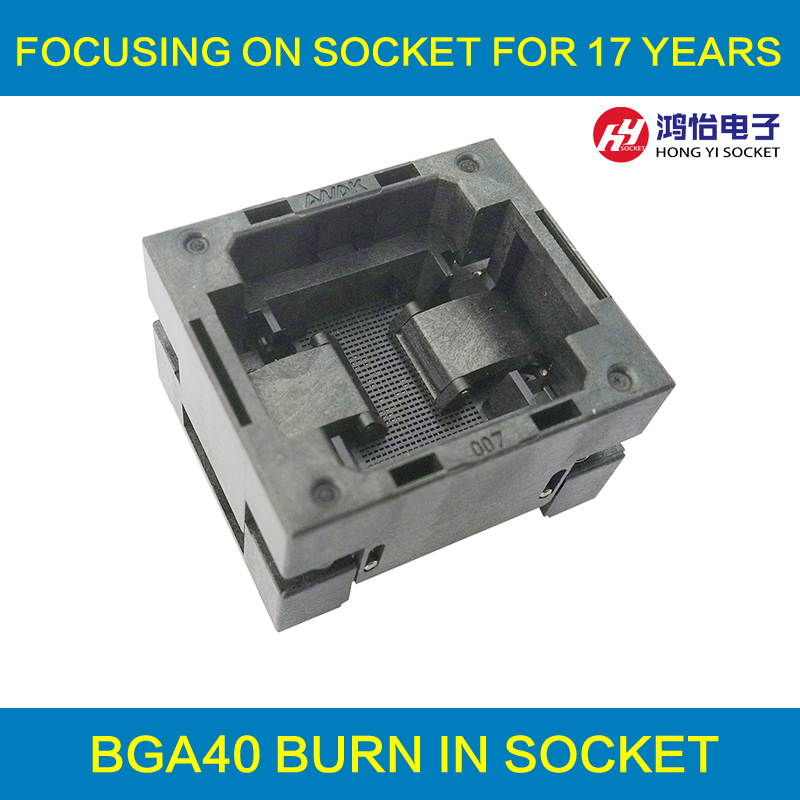 BGA40 OPEN TOP burn in socket pitch0.5mm IC size 8*9.2mm BGA40(8*9.2)-0.5-TP01NT BGA40 VFBGA40 burn in programmer socket bga80 open top burn in socket pitch 0 8mm ic size 7 9mm bga80 7 9 0 8 tp01nt bga80 vfbga80 burn in programmer socket