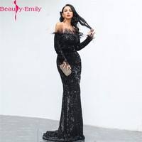 Beauty Emily Sexy Boat Neck Sequined Mermaid Evening Dresses with Feather Elegant Long Sleeve Vintage Formal Dress Mermaid Dress