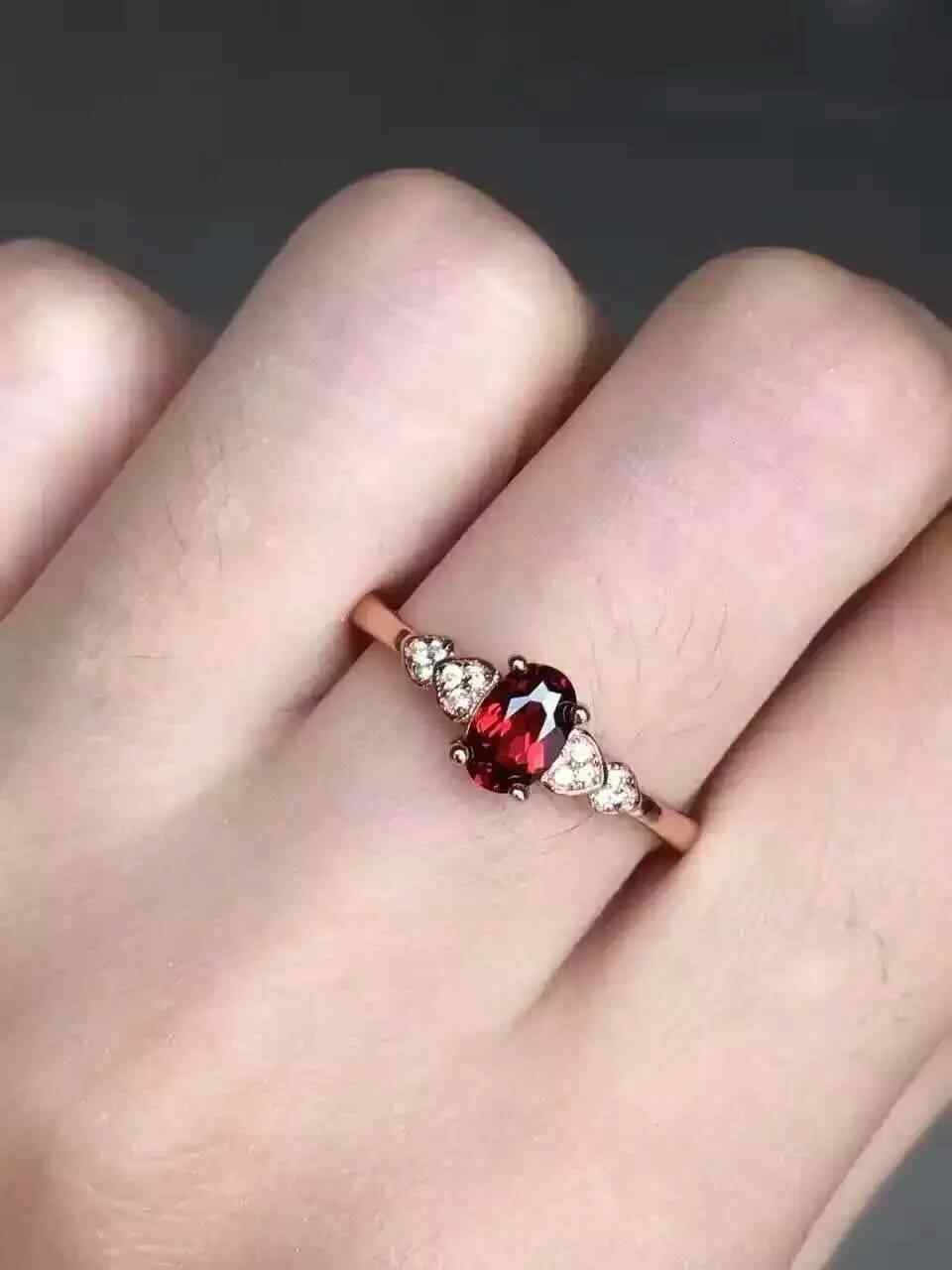 64e8296cc8 Natural red garnet Ring Natural gemstone Ring S925 sterling silver trendy  Elegant Heart women's girl wedding