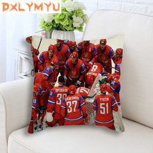 Decorative Cushion Modern NHL Sports Picture Printed Linen Cotton Ice Hockey Poster Throw Pillow for Sofa Home Decor