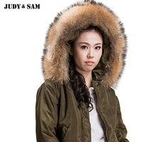 Mujeres invierno desgaste chaqueta de bombardero con Real Raccoon Pieles de animales collar mujer HOODIE capa caliente moda overjacket