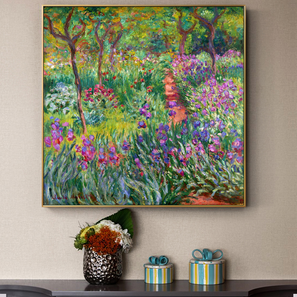 Monet Garden Canvas Paintings Flowers Prints And Posters For Living Room Wall Unframed Home Decorative Pictures For House Decor