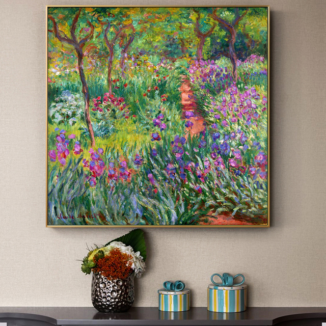 Monet Garden Canvas Paintings Flowers Prints And Posters For Living Room  Wall Unframed Home Decorative Pictures