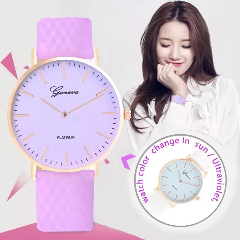 Horloge de conception de mode en lumière directe du soleil changement de couleur sport décontracté décoloration ultraviolette quartz femmes montres-bracelets
