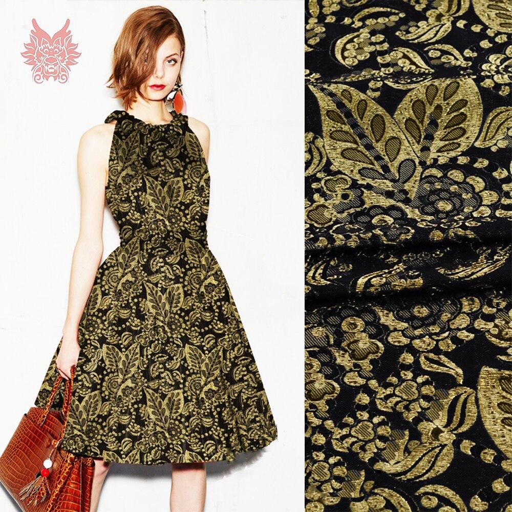 Estilo americano de lujo Oro Negro floral jacquard rayón tela de ...