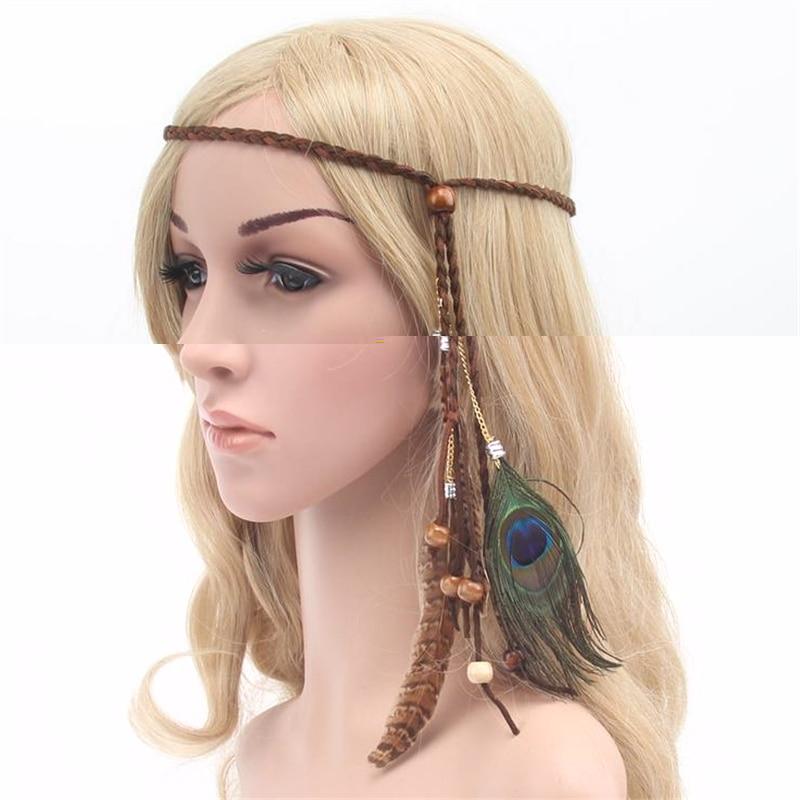 1pc Fashion Indian Style Bohemia Peacock Feather Hair