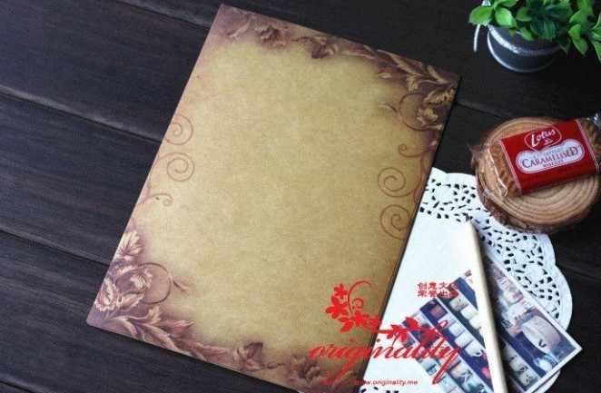 กระดาษคราฟท์สีน้ำตาลกระดาษ 16 แผ่นVintageออกแบบดอกไม้จดหมายจดหมายกระดาษเขียนจดหมายPad Drawing Sketch Padเครื่องเขียน