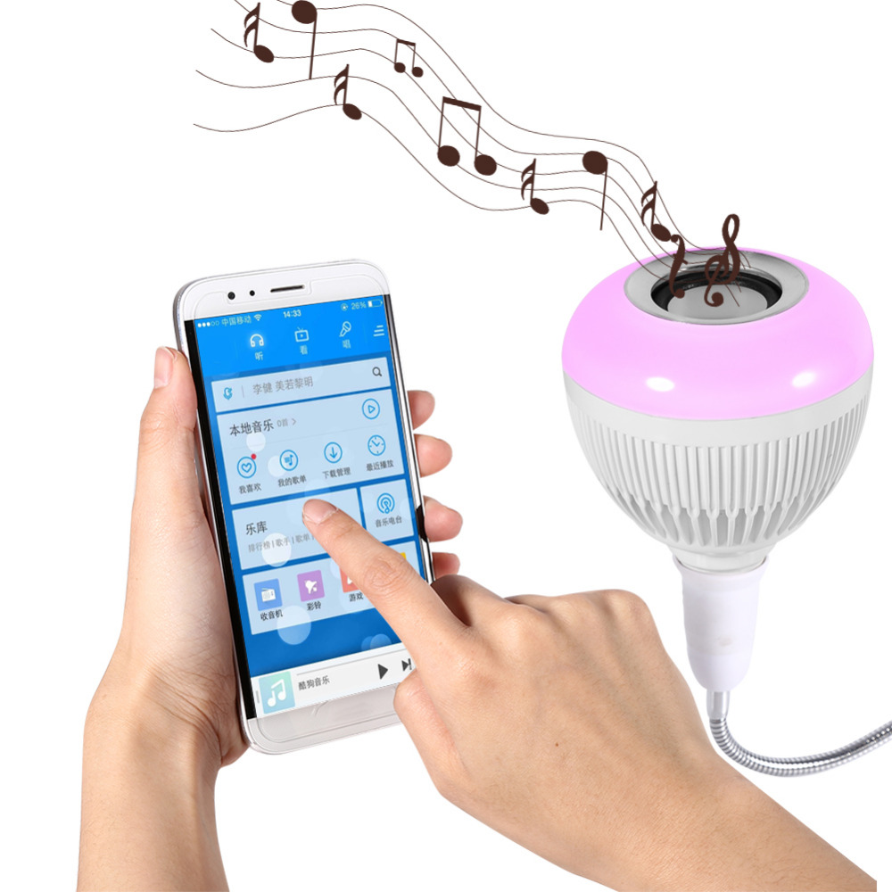 Speakers Bluetooth Portable RGB Wireless Bluetooth Led Bulb Speaker Audio Smart Music Playing Light Lamp+24 Keys Controller 2017 hot bluetooth multi function audio intelligent family host background music system lcd screen touch light dimmer 2 speakers