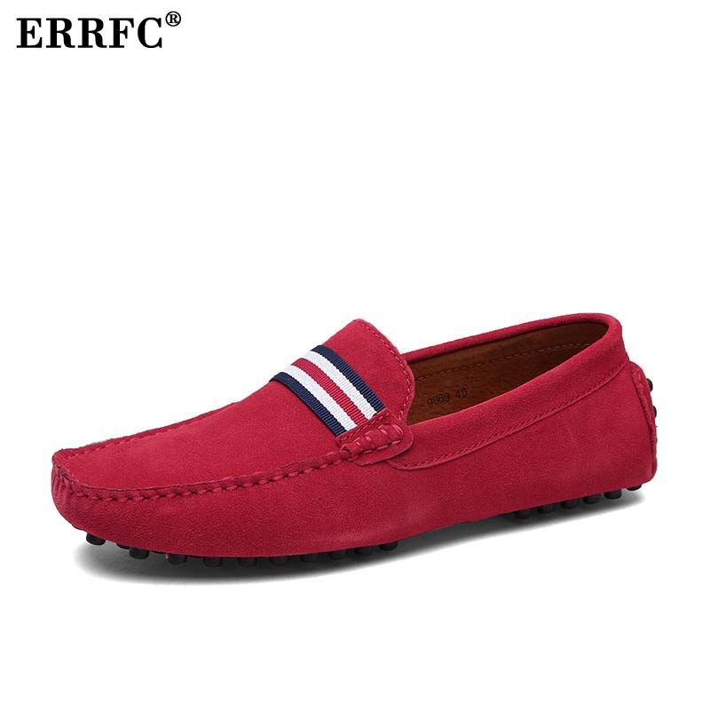 ERRFC Fashion Men Red Loafer Shoes Trending Leisure Slip On Casual Shoes Man Moccasin Shoes For